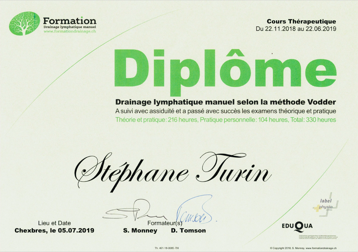2019 07 05 Diplme de Drainage Lymphatique Manuel Thrapeutique